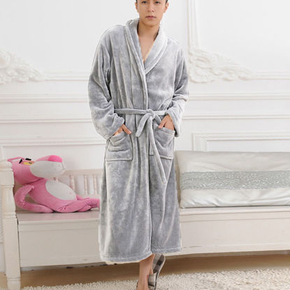 Picture of Couple's Sleep Robe Flannel Long Sleeve Solid Color Cozy Warm Sleepwear - Size: XXL