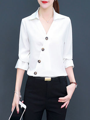Picture of Women's Shirt Solid Color Flare Sleeve Button Top - Size: XXL