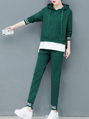 Picture of Women's 2Pcs Sports Clothing Set Long Sleeve Patchwork Hoodie Pants Set - Size: L