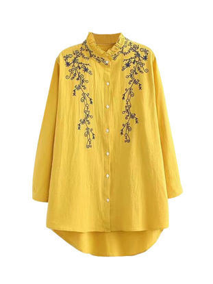 Picture of Women's Shirt Loose Embroidery Long Sleeve Top - Size: 3XL