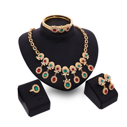 Picture of Lucky Doll 5 Pcs Women's Jewelry Set Bracelet Rhinestone Ring Colorful Earrings Necklace Accessories - Size: One Size