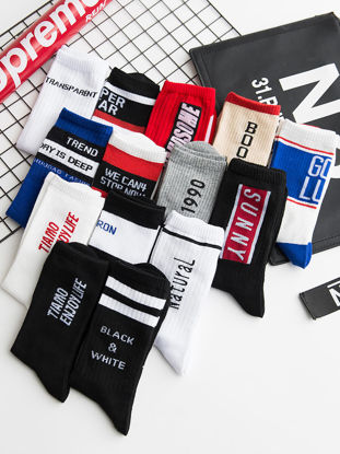 Picture of Men's 5 Pairs Crew Socks Color Block Letter Pattern Cozy Socks - Size: Free