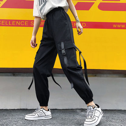 Picture of Women's Casual Pants Elastic Waist Loose Ankle-tied Pants - Size: L