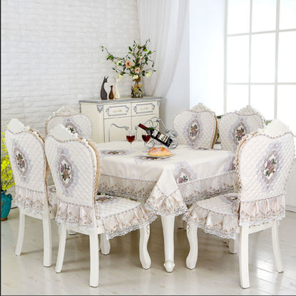 Picture of 13Pcs Table Cloth And Chair Pads Set European Elegant For Dining Room Table Cloth - Size: 13Pcs Set