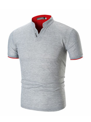 Picture of Men's Polo Shirt Stand Collar Short Sleeve Solid Color Comfy Top - Size: 3XL