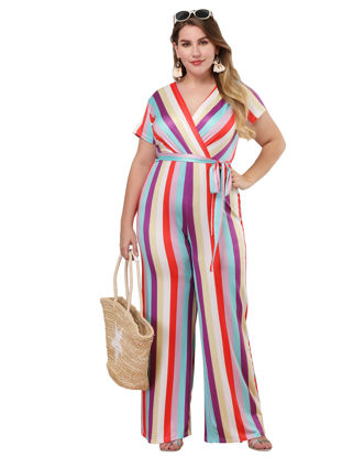 Picture of Women's Casual Jumpsuit Plus Size Loose Striped Cropped Jumpsuit - Size: XL