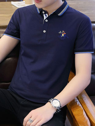 Picture of Men's Polo Shirt All-Match Short Sleeve Breathable Simple Top - Size: XXL