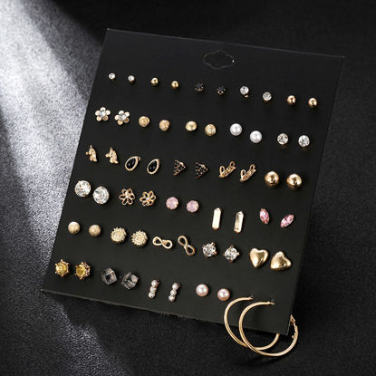 Picture of 30 Pairs Women's Earrings Set Geometric Pattern Versatile Earrings Accessory - Size: One Size