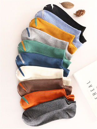 Picture of Men's 10 Pairs Sneaker Socks Candy Color Breathable Cozy Ankle Socks - Size: Free