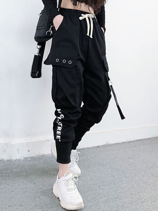 Picture of Women's Casual Pants Drawstring Pocket Letter Print Loose Pants - Size: S