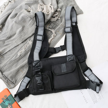 Picture of Men's Backpack Patchwork Large Capacity Zipper Closure Bag - Size: One Size