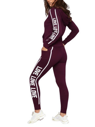 Picture of Women's 2 Pcs Sports Set Hooded Long Sleeve Letter Pattern Hoodie Comfy Pants Set - Size: S