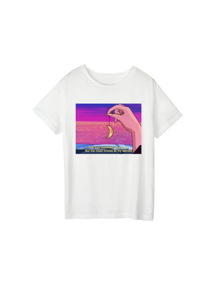 Picture of Women's T Shirt Plus Size O Neck Short Sleeve Print Top - Size: 3XL