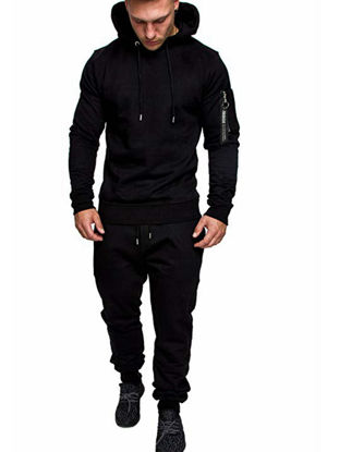 Picture of Men's 2Pcs Sports Clothing Set Long Sleeve Camouflage Hoodie Pants Suit - Size: 4XL