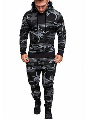 Picture of Men's 2Pcs Sports Clothing Set Long Sleeve Camouflage Hoodie Pants Suit - Size: XL