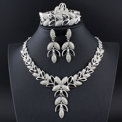 Picture of 5 Pcs Women's Jewelries Fashionable Bracelet Earrings Necklace Ring Accessories - Size: One Size
