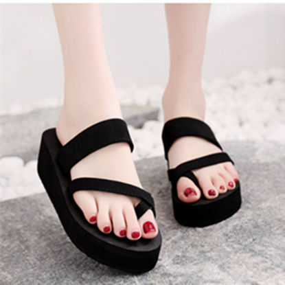 Picture of Women's Slippers Solid Color Strappy Indoor Outdoor Beach Sandals - Size: 39