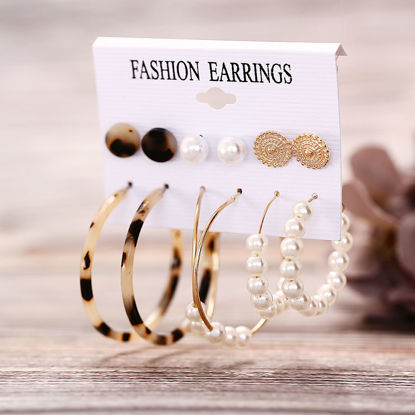 Picture of 6 Pairs Women's Studs Hoops Imitation Pearl Acrylic Design Ladylike Earrings Accessory - Size: One Size