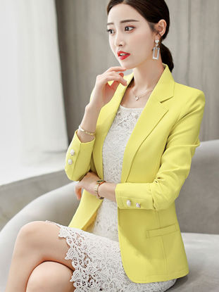 Picture of Women's Blazer Notched Collar Long Sleeve Solid Decorative Pockets Coat - Size: XXL