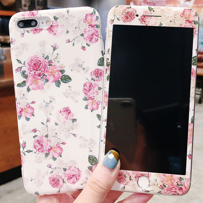 Picture of Iphone Case Sweet Flowers Pattern Phone Film Cover - Size: IPHONE 7Plus