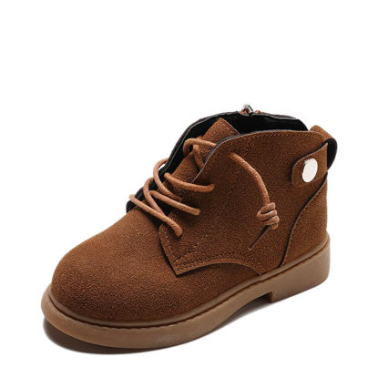 Picture of Kid's Boots Round Toe Retro Style All Match Wearable Shoes - Size: 26