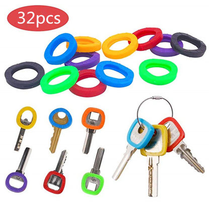 Picture of 32 Pieces Keychains Hollow Silicone Key Cap Covers Topper Key Holder Elastic Key Rings