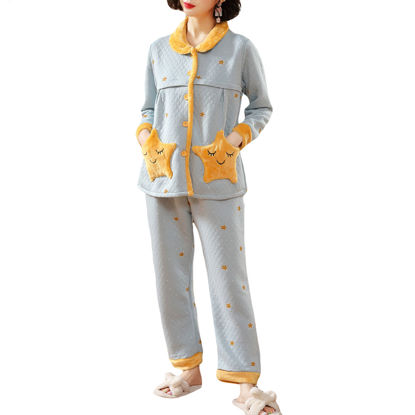 Picture of 2 Pieces Pajama Set Sweet Adorable Star Thickened Comfort Maternity Clothing - Size: XXL