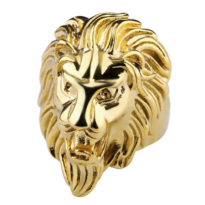 Picture of Men's Ring Lion Head Shape Design Solid Color Ring Accessory - Size: 9