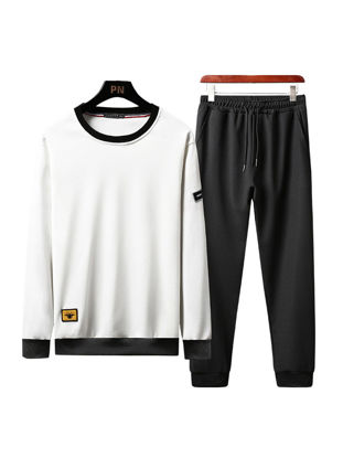 Picture of Men's 2Pcs O Neck Casual Sweatshirt Solid Color Cropped Pants - Size: XXL