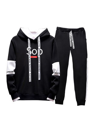 Picture of Men's 2Pcs Words Hoodie Pocket Peg Pants Set - Size: XL