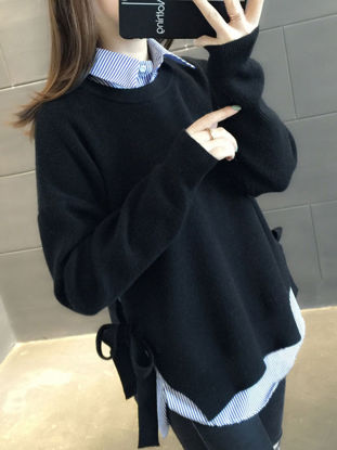 Picture of Women's Sweater Turn Down Collar Long Sleeve Patchwork Knitwear - Size: Free
