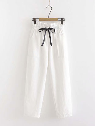Picture of Women's Peg Pants Solid Color Ruffle Drawstring Casual Pants - Size: Free