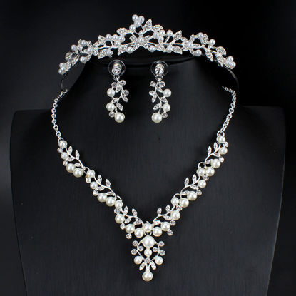 Picture of 4 Pcs Women's Jewelries Set Ladylike Hair Crown Imitation Pearl Necklace Earrings Accessories - Size: One Size
