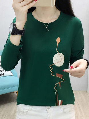 Picture of Women's T Shirt Casual O Neck Long Sleeve Geometry Print Top - Size: M