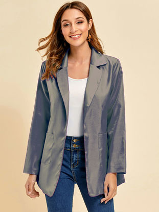 Picture of Women's Blazer Solid Color Pocket Long Sleeve Coat - Size: XL
