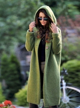 Picture of Women's Cardigan Solid Color Button Hooded Long Sleeve Knitwear - Size: 3XL