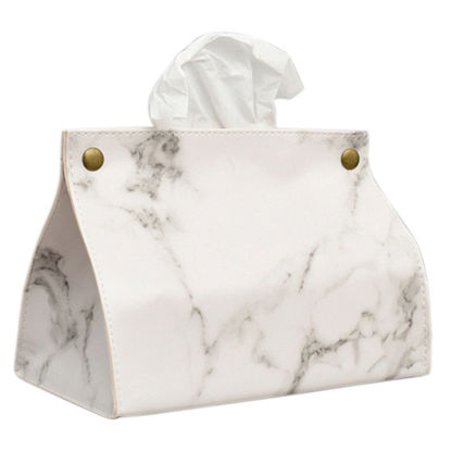 Picture of 1Pc Marble Pattern Removable Tissue Box Pu Leather Home Car Napkin Paper Container - Size: One Size