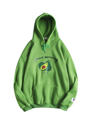 Picture of Men's Hoodie Hooded Long Sleeve Loose Thicken Fruit Pattern Letter Hoodie - Size: XXL
