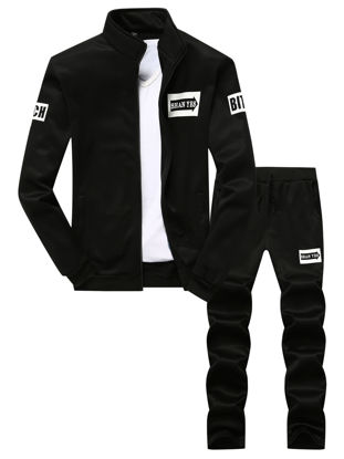 Picture of Zhuowolves Men's Sports Set Long Sleeve Letter Print Zipper Opening Casual Pants Suit - Size: 4XL