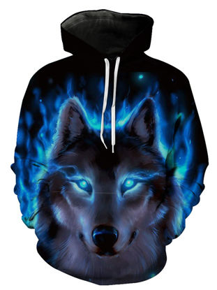 Picture of Men's Hoodie Wolf Pattern Long Sleeve Cool Mens Clothing - Size: XXL
