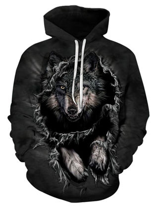 Picture of Men's Hoodie 3D Animal Pattern Long Sleeve Casual Loose Plus Size Hoodie - Size: 6XL