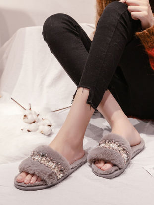 Picture of Women's Slippers Pearl Plush Anti-slip Lovely Indoor Slippers - Size: 38-39
