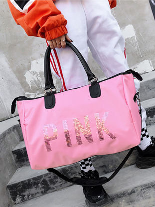 Picture of Women's Shoulder Bag Color Block Printing Letters Pattern Trendy Bag - Size: One Size