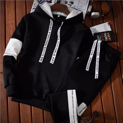 Picture of Men's 2Pcs Color Block Long Sleeve Hoodie Casual Pants - Size: L