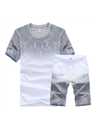 Picture of Men's 2Pcs Shorts Set T-Shirt Color Block Printed O-Neck Shorts Suit - Size: 4XL