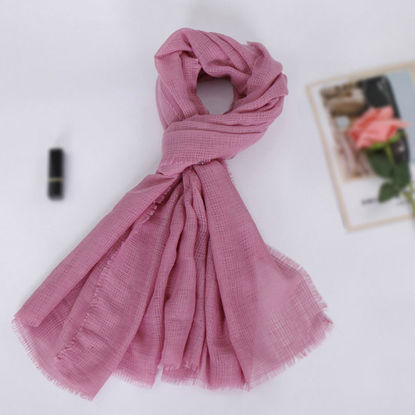 Picture of Women's Scarf Solid Color Tassel Hem Soft All Match Accessory - Size: One Size