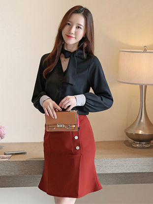 Picture of Women's Shirt V Neck Button Long Sleeve Top - Size: L