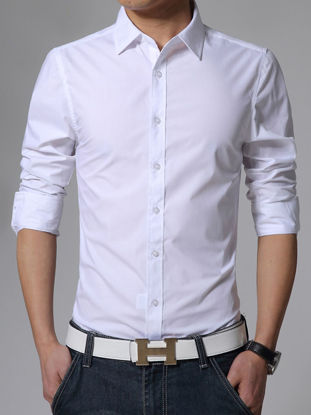 Picture of Men's Shirt Stylish Solid Candy Color Long Sleeve Casual Shirt - Size: XXL