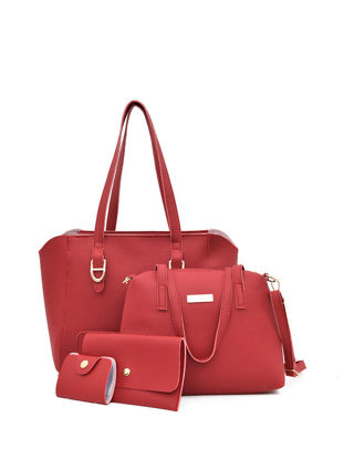 Picture of 4Pcs Women's Shoulder Bag Set Large Capacity Solid Color All Match Bags Set - Size: One Size