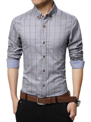 Picture of Men's Shirt Checkered Pattern Classic Fresh Style Turn Down Collar Shirt - Size: 3XL